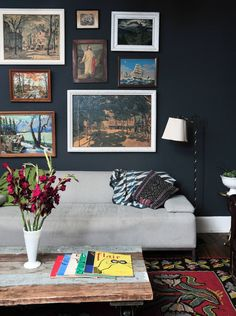 Paint colors that match this Apartment Therapy photo: SW 7645 Thunder Gray, SW 7514 Foothills, SW 7715 Pottery Urn, SW 6258 Tricorn Black, SW 7072 Online