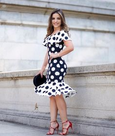 Black, and White polka dot dress Kanyget fashions + Trendy Dresses, Cute Dresses, Beautiful Dresses, Casual Dresses, Prom Dresses, Summer Dresses, Dress Prom, Dress Wedding, Kohls Dresses