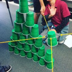 Team building #STEM Challenge: Make a cup tower using a rubber band and four pieces of string! From Alma Alexander (@purely.primary)