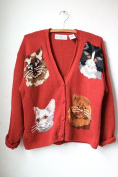 1980s cat cardigan by SINCE1985 on Etsy