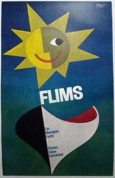 Vintage Posters: Flims - Wald Wasser Berge - Schweiz Suisse Switzerland, 1956 by Piatti, Celestino Original Travel, Retro Poster, Vintage Graphic Design, Piet Mondrian, Water Photography, Windsurfing, Illustrations, Vintage Travel Posters, Poster