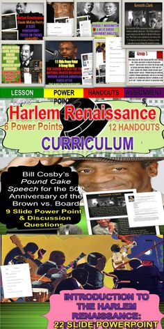 Introduce your students to a wonderful part of American history-the birth of African American literature with the Harlem Renaissance!   This curriculum unit will take at least two weeks and consists of six Power Points and twelve handouts.   Included are lessons on the following Harlem Renaissance writers: Langston Hughes, Countee Cullen, Claude McKay, W.E.B. DuBois, Booker T. Washington, and Lorraine Hansberry.