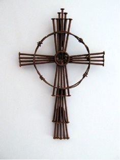 rustic metal nail cross - we can make this @Sally Sobert and it is cool looking with or without the circle