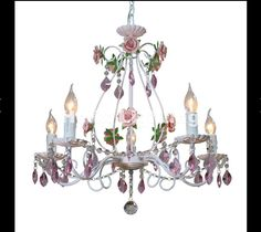 Newly White European Chandelier lamp Lustre Light 3L/5L/8L Pink Rose Flower Light Fixture E14 Decor Chandelier Free Shipping #Affiliate