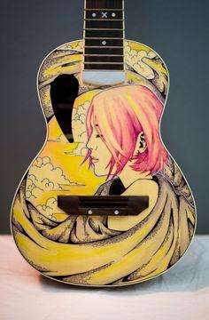 Ukulele Sharpie Art by ZeonFlux on DeviantArt Ukulele Art, Guitar Art, Cool Guitar, Painted Ukulele, Painted Guitars, Guitar Painting, Sharpie Art, Pyrography, Musical Instruments