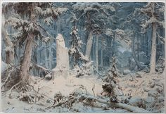 """Andreas Achenbach: """"Snowy Forest"""", 1835, Watercolour, Dimensions:Height: 423 mm (16.65 in). Width: 625 mm (24.61 in), Museum Kunst Palast, Düsseldorf - Google Art Project."""