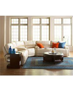 Nina Leather Power Reclining Sectional Sofa Collection | macys.com