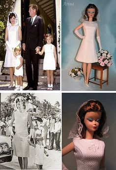 Silkstone Barbie doll in Arina's fashion creations. Jacqueline Kennedy easter dress for Silkstone Barbie.
