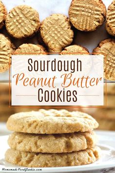 Peanut Butter Cookies with Sourdough Recipe Peanut Butter Cookies are a delicious twist on an old American Favorite cookie. Including sourdough starter adds a deeper flavor with a bit of tang. Dough Starter Recipe, Sourdough Starter Discard Recipe, Sourdough Recipes, Starter Recipes, Flour Recipes, Beignets, Cookie Recipes, Dessert Recipes, Desserts