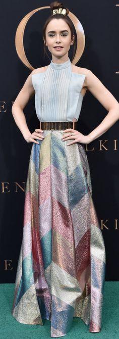 Lily Collins dazzles at Tolkien screening in LA Jennifer Hudson, Jennifer Connelly, Kate Hudson, Printed Gowns, Phil Collins, Kristin Cavallari, Rachel Bilson, Nicole Richie, Pippa Middleton