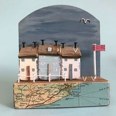 There'll be seagulls over the white cliffs of Dover! Vintage map , the back is a 1930s clock door. #lorainespick #shabbydaisies #seaside #sea#vintage #map#driftwoodart #rusticart #handmade #harbour #nautical #clockdoor