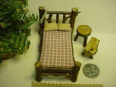 Bed Set Rustic Miniature Dollhouse Furniture  Log Cabin Half inch Scale Bed Table Country 7 pieces. $17.99, via Etsy.