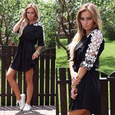 Dámské letní šaty s květinovými rukávy černé – Velikost L Na tento produkt  se vztahuje nejen 8eee128a25