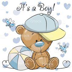 Baby Shower Greeting Card with cute Teddy Bear boy. Baby Shower Greeting Card with cute Cartoon Teddy Bear boy vector illustration Teddy Bear Cartoon, Cute Teddy Bears, Baby Cartoon, Cute Cartoon, Baby Shower Greetings, Baby Shower Greeting Cards, Baby Cards, Teddy Bear Baby Shower, Baby Boy Shower