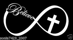 CHRISTIAN VINYL CAR TRUCK WINDOW STICKER DECAL BELIEVE CROSS