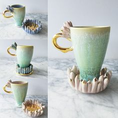 """salvadordali-art: """"Exquisite Ceramic Mugs Inspired by Crystals Seattle-based artist Katie Marks has acquired a passionate admiration for all aesthete in the world with her collection of otherworldly. Porcelain Ceramics, Ceramic Mugs, Ceramic Art, Pottery Vase, Cup And Saucer, Amazing Art, Tea Cups, Coffee Mugs, Clay"""