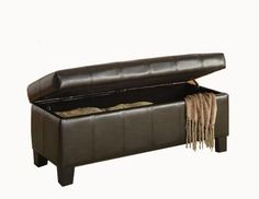 Storage Bench Ottoman Furniture Lift Top Seat Foot Rest Decor Faux Leather Brown