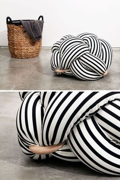 The design of this fun and black and white knot pillow was created by knots . : The design of this fun and black and white knot pillow was inspired by knots … Sewing Pillows, Diy Pillows, Decorative Pillows, Pillow Ideas, Cushion Ideas, Knot Cushion, Knot Pillow, Diy Crafts Videos, Diy Crafts To Sell