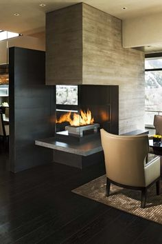 Fireplace In A Contemporary Living Room