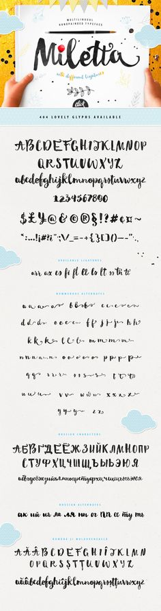 Miletta typeface with ligatures by BlessedPrint. 50% off first 100 sales. Handmande script font.