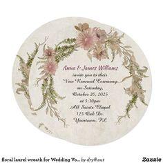 floral laurel wreath for Wedding Vow Renewal Invitation Vow Renewal Invitations, Wedding Invitations, Wreath Watercolor, Floral Watercolor, Laurel Flower, Vow Renewal Ceremony, Laurel Wreath, Announcement Cards, Wedding Vows