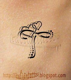 Italian Tattoo: Alfabeto tattoo cuori ribelli: lettera T