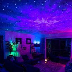 Neon Bedroom, Room Ideas Bedroom, Bedroom Decor, Galaxy Bedroom Ideas, Bedroom Ceiling, Bedroom Signs, Bedroom Inspo, Galaxy Lights, Hangout Room