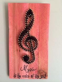 """Music note art, treble clef art, music room art, home decor, string art, 11 by 6"""", music quote, gift idea"""