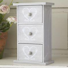 3 Drawer Jewellery Box - Heart Design