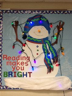 Reading Makes You Bright Winter Bulletin Board…Love this! Then students can write about their favorite books and what they learned by reading them.