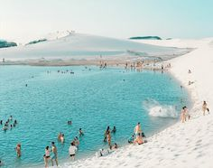The Lençóis Maranhenses National Park (Parque Nacional dos Lençóis Maranhenses) is located in Maranhão state, in northeastern Brazil, just east of the Baía de São José, between 02º19'—02º45' S and 42º44'—43º29' W. It is an area of low, flat, occasionally flooded land, overlaid with large, discrete sand dunes.