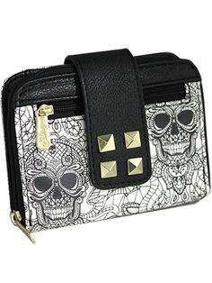"Women's ""Logo Two Tone"" Wallet by Sullen Clothing (White/Black) #inkedshop #logo #wallet #purse #studs #zipper #skulls"