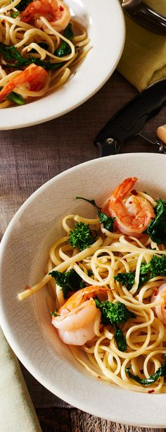 Broccoli Rabe Linguine with Shrimp #BroccoliRabe
