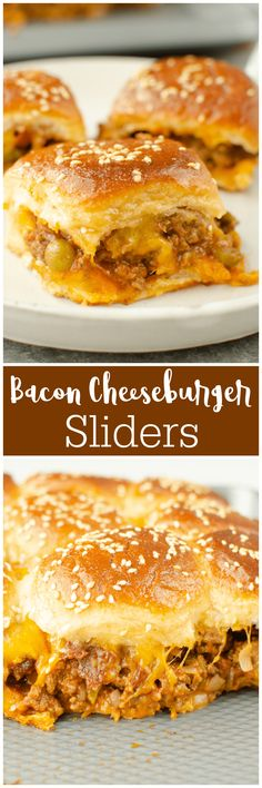 Bacon Cheeseburger Sliders - the easiest way to serve burgers to a crowd! Everything you love about burgers on Hawaiian rolls and covered in the most delicious glaze! Easy Dinner Recipes, Great Recipes, Lunch Recipes, Yummy Recipes, Best Appetizers, Appetizer Recipes, Bacon Recipes, Cooking Recipes, Best Superbowl Food