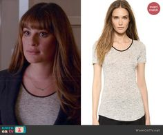 Rachel's heathered grey top with black trim on Glee.  Outfit Details: http://wornontv.net/44040/ #Glee