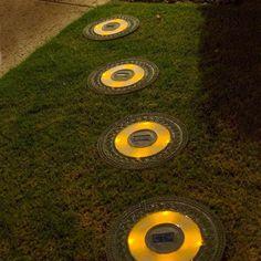 Round Garden Green Solar Stepping Stone, Set Of 3 By Homebrite Solar, Http: