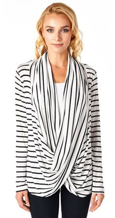 Cute top for anyone but great wrap style drapey top for a new Mom who is nursing as you'd wear your own tank underneath!