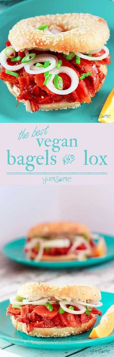 Vegan bagels and lox? From scratch? Yes! Creamy ricotta, smoky carrot lox, and soft home-made bagels make for a perfect lunch! | http://yumsome.com