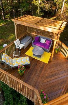 20 Timber Decking Designs that can Append Beauty of your Homes - Gartengestaltung Diy Pergola, Diy Deck, Pergola Kits, Pergola Ideas, Pergola Roof, Cheap Pergola, Steel Pergola, Corner Pergola, Pergola Shade