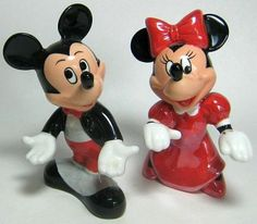 Mickey in tuxedo and Minnie in red dress salt and pepper shaker set