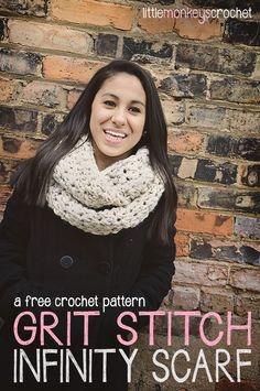 Grit Stitch Infinity Scarf   a free crochet pattern by Little Monkeys Crochet