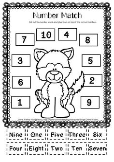 """FREE Husky Winter Worksheet - Number Match to 10. This is a cut and paste worksheet where students cut out the number words and glue them on top of the correct number. This is included in the free """"Winter Number to 10"""" printable set.:"""