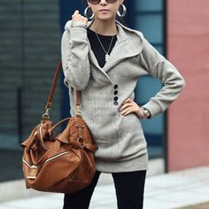 """price:19.99usd  Style:Fashion  Color:Red,Gray,Black  Material:Knitted Wool  Size:Free  Bust:90cm(35.43"""");Waist:76cm(29.92"""");Shoulder:60cm(23.62"""");Sleeve:45cm(17.72"""");Length:77cm(30.31"""");   Long-style style,can be as a mini dress. Solid color,with long sleeve,v-neck and hooded design,chic and stylish. ..."""