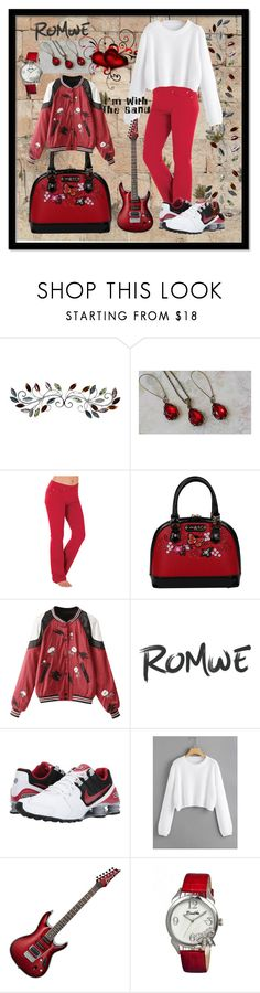 """""""Romwe - White Loose Fit Crop Jumper"""" by aurorasblueheaven ❤ liked on Polyvore featuring Nicole Lee, NIKE and Bertha"""