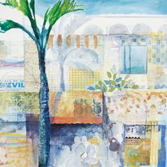 Sketches of Seville, art in Spain, travel, collages by Karen Stamper, Europe Travel Collage, Collage Art, Pastel Landscape, Country Paintings, Kids Room Design, Art Tutorials, Art Lessons, Seville, Illustration Art
