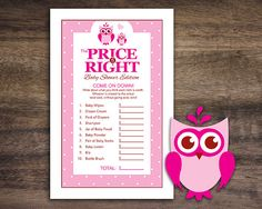 Instant Download, Owl Baby Shower The Price Is Right Game Cards, Printable Party Sheets for Baby Girl, Pink Rose Polkadot Bird #23C
