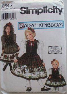 """Little Girl's Daisy Kingdom Dress and Doll Dress for 18"""" Doll Sewing Pattern - Simplicity 0645 - Sizes 3-4-5-6, Breast 22 - 25 by Shelleyville on Etsy"""
