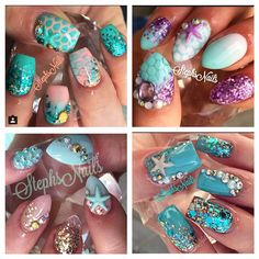 Some of my fav mermaid sets what's yours? #mermaidnails#stephsnails#cutecolorcombos#love#mermaidnails#cantwaitformine#twoweekscomefaster#love#getsomemermaidnails