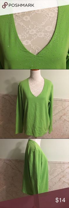 Faded Glory Stretch Perfect Fit Gem Top XL This is a Perfect Fit stretch top from the Faded Glory line in a size XL. It's a vibrant green with silver gems around the neckline. Material is cotton and spandex. Faded Glory Tops Tees - Long Sleeve