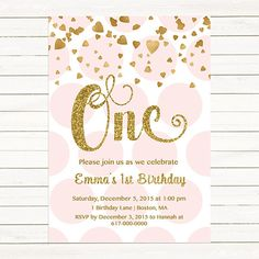 Pink and Gold 1st Birthday Invitation Girl, Any Age Pink Gold Heart Confetti Girl First Birthday Invitation, Polka Dot Printable JPEG P